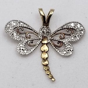 Jewelry - Two Tone White Yellow Gold Dragonfly Pendant Charm